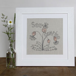 Sea Campion Wild Flower Embroidered Picture