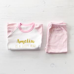 Personalised 'Sleepy Head' Pink Striped Pyjamas - clothing