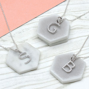 Personalised Silver And Pave Initial Charm Necklace
