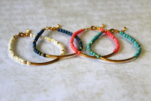 Children's Gold Tube Bracelet With Semi Precious Stones - children's jewellery