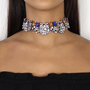 Colourful Rhinestone Choker Necklace - statement jewellery