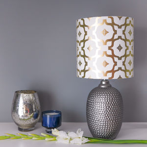 Metallic Lampshade In White And Gold