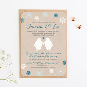 Penguin And Snowflake Evening Invite With Gems - invitations