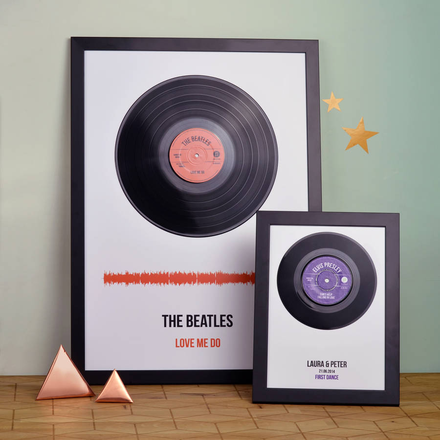 personalised vinyl record framed song print by oakdene designs ...
