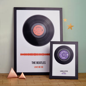 Personalised Vinyl Record Framed Song Print - new lines added