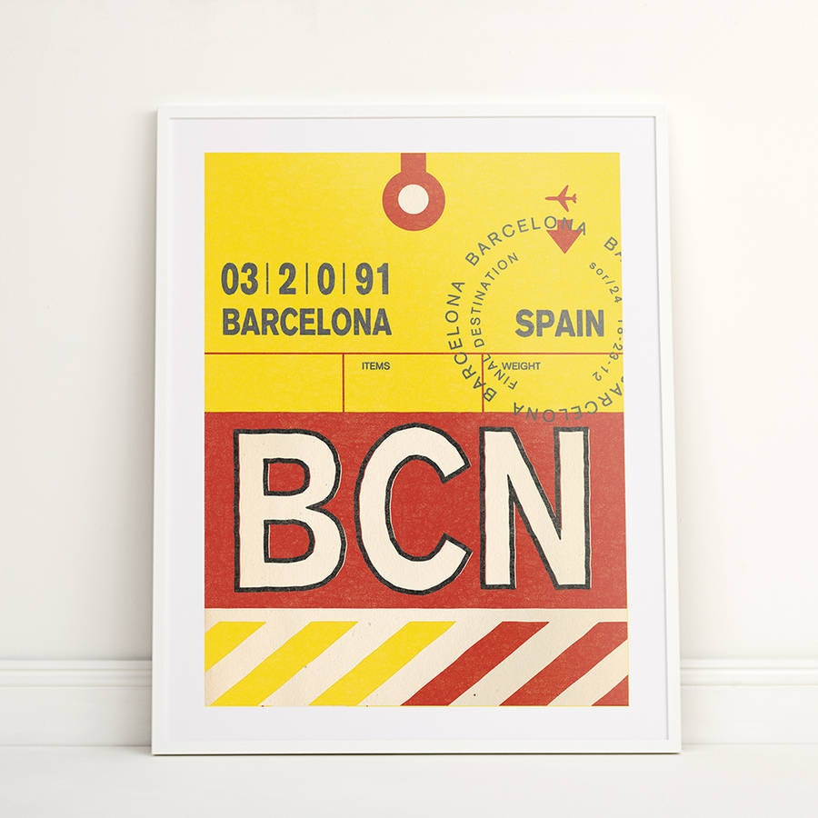 Personalised Barcelona Vintage Luggage Tag Print