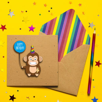 Happy Birthday 3D Cheeky Monkey Birthday Card