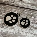Black And Silver Circular Enamel Dog Tag