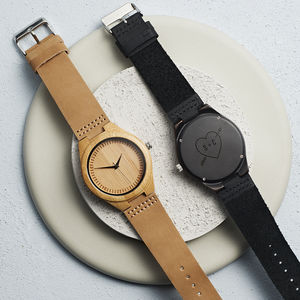 Personalised Wooden Heart And Initial Men's Watch - 5th anniversary: wood