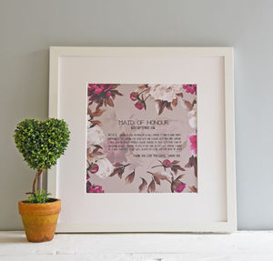 Personalised Maid Of Honour Print - shop by subject
