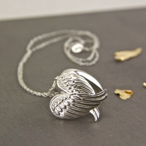 Sterling Silver Angel Wings Locket Necklace