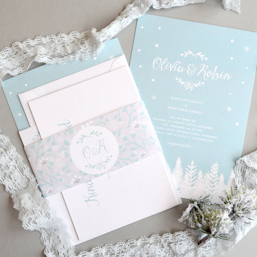 not on the high street winter wedding invitations%0A Winter Wonderland Wedding Invitation