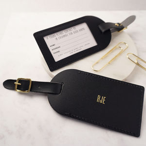 Leather Personalised Luggage Tag - frequent traveller
