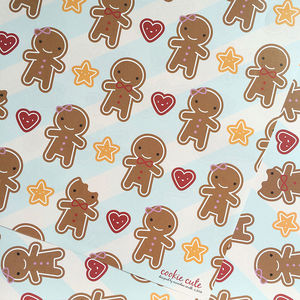 Five Sheets Of Gingerbread Man Wrapping Paper