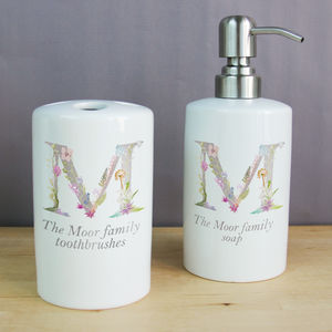 Personalised Soap Dispenser And Tooth Brush Holder