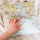 Personalised Vintage Map Cushion With Embroidered Heart