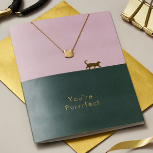 'You're Purrfect' Cat Card And Necklace Set