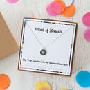 Stamped Disc Initial Necklace On Personalised Gift Card