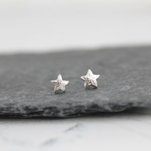 Sterling Silver Mini Star Studs - earrings