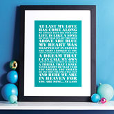 Favourite Lyrics Poster - birthday gifts