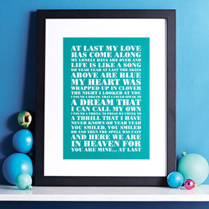 Personalised Favourite Lyrics Poster - top 50 personalised prints