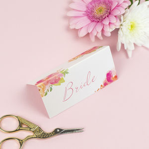Rose Bloom Wedding Place Card - place cards