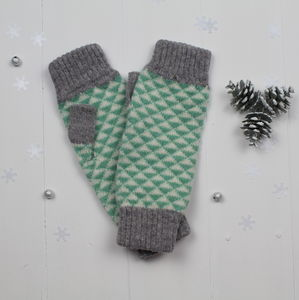 Triangle Knitted Fingerless Mitts In Mint - gloves