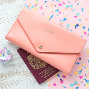 Personalised Leather Travel Wallet - pastel accessories