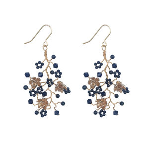 Navy And Gold Chandelier Earrings - earrings