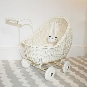 Handmade Scandinavian Wicker Dolls Pram - new modern toys