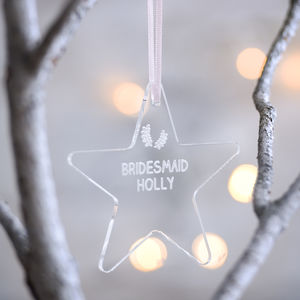 Bridesmaid Personalised Star Decoration