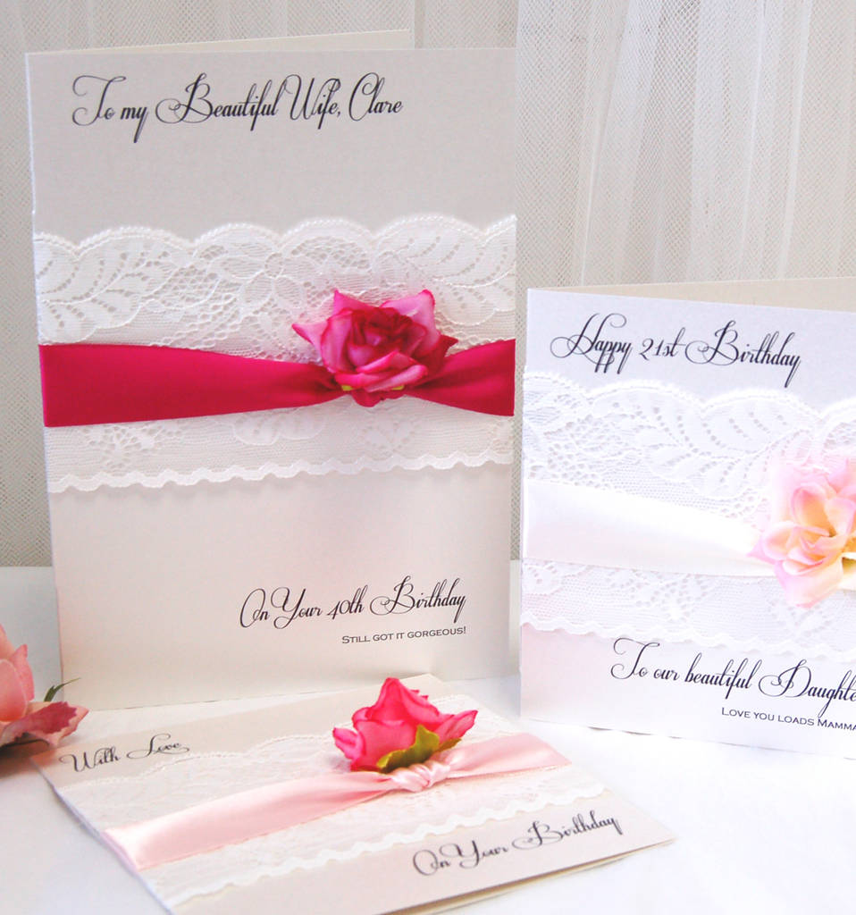 Wife Birthday Card With Personalised Wording Printed Rose Lace And Ribbon Boxed Cards