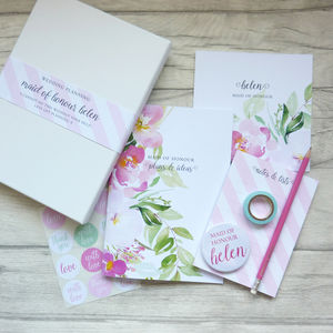 Maid Of Honour Wedding Planning Stationery Gift Set - be my bridesmaid?