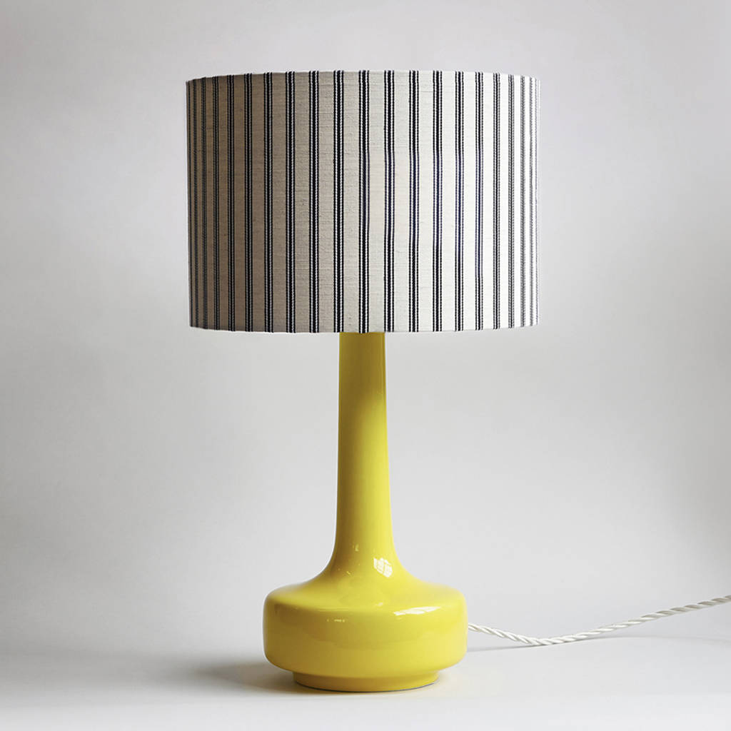 Bell Bottom Table Lamp In Yellow With Ticking Shade By