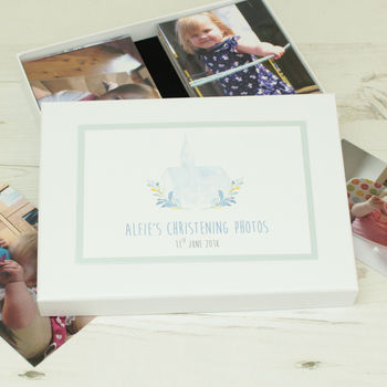 Personalised Watercolour Christening Photo Storage Box