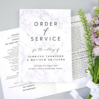 Monochrome Marble Wedding Order Of Service Booklet