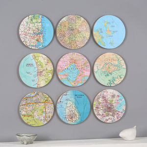 Personalised Map Location 3D Circle Wall Art - mixed media & collage