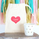 Personalised Cotton Bag With Heart Tea Light Holder