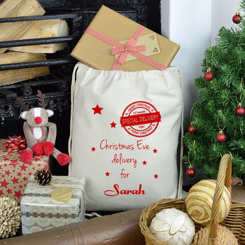Personalised Special Delivery Christmas Eve Sack