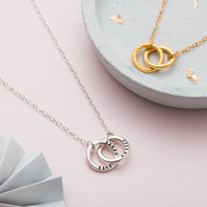 Personalised Double Hoop Names Necklace - gifts for mothers