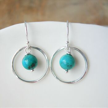Turquoise Hammered Silver Circle Earrings