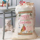 Personalised 1st Christmas Keepsake Sack - happy 1st christmas design with pink wording