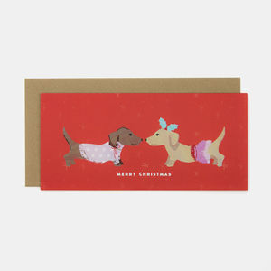 Red Merry Christmas Puppy Greeting Card