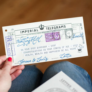 21st Birthday Keepsake Telegram