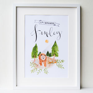 Personalised Nursery Art Illustrated Bear Print