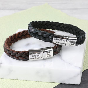 Personalised Men's Thick Woven Leather Bracelet - bracelets