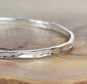 Narrow Sterling Silver Textured Storybook Bangle