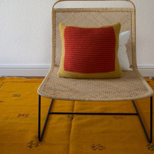 Strikk Hand Knit Colourblock Cushion In Mustard Saffron