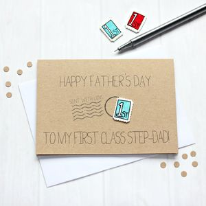 Personalised 'First Class' Step Dad Father's Day Card - father's day cards
