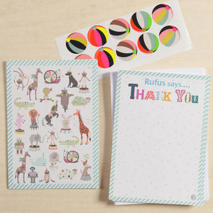 12 Child's Thank You Cards Pets Design - thank you cards